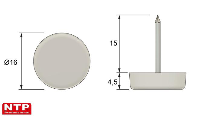 Ślizgacz z gwoździem Ø16 biały
