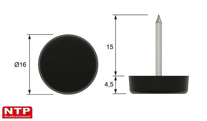 Ślizgacz z gwoździem Ø16 czarny
