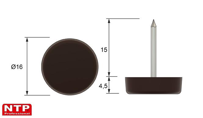 Ślizgacz z gwoździem Ø16 brązowy