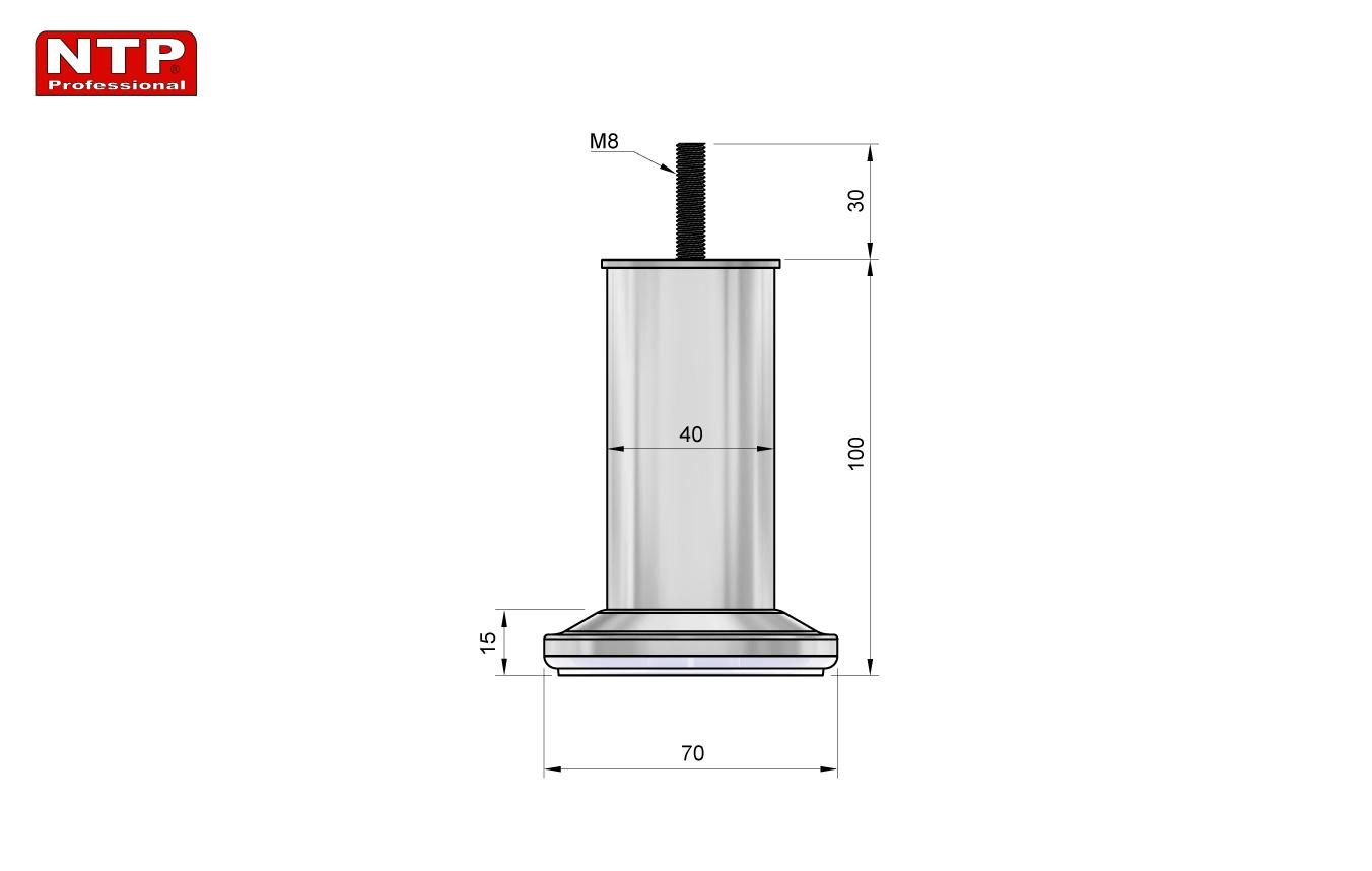 Nóżka meblowa 100mm rysunek techniczny