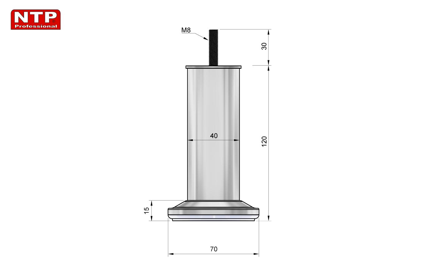 Nóżka meblowa 120mm rysunek techniczny