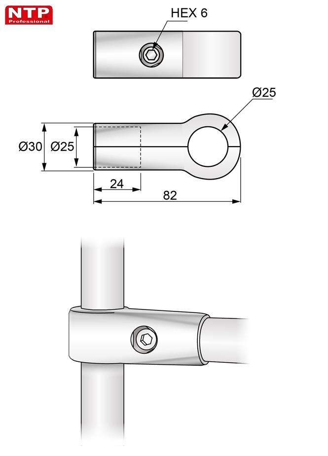 Złącze jednoramienne proste rysunek techniczny