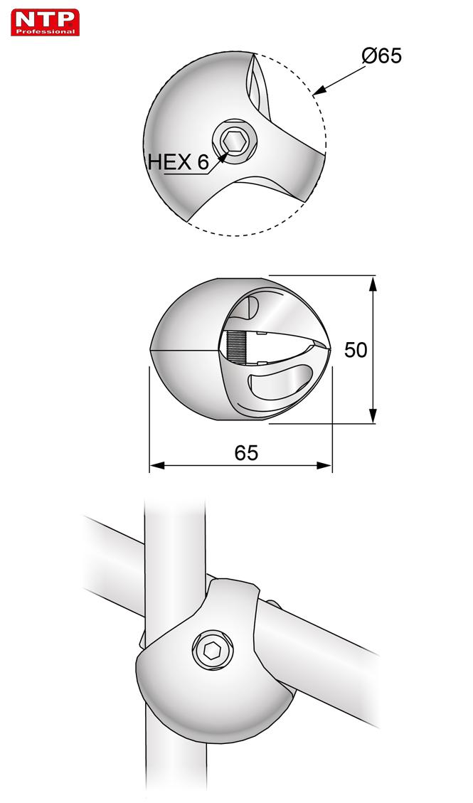 Złącze dwukierunkowe prawe rysunek techniczny
