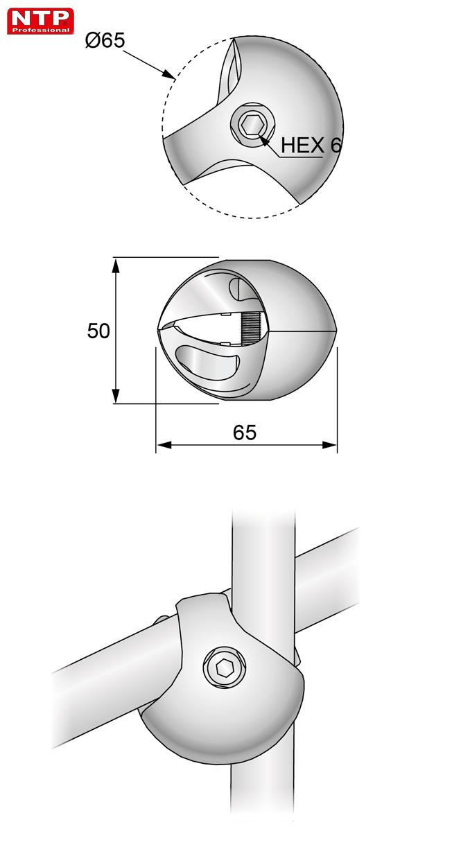 Złącze dwukierunkowe lewe rysunek techniczny