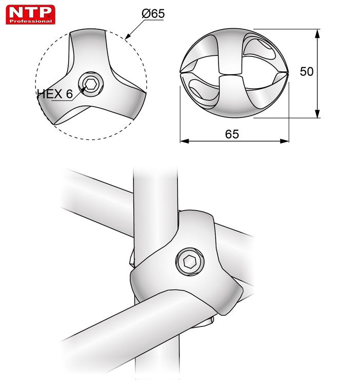 Złącze trzykierunkowe prawe rysunek techniczny