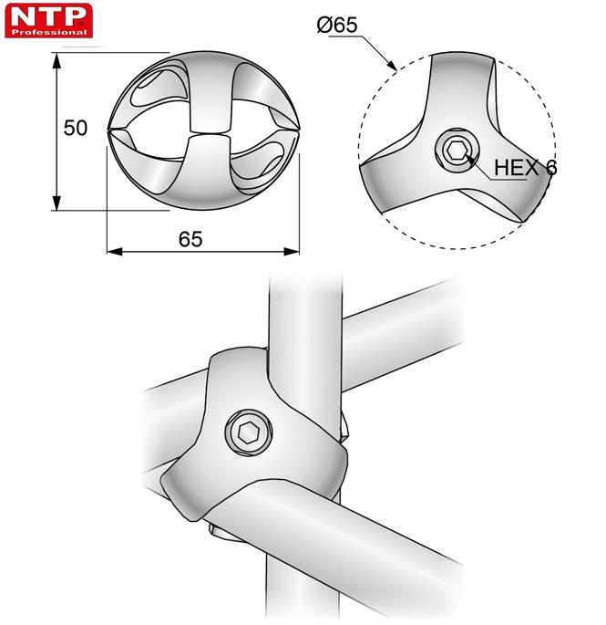 Złącze trzykierunkowe lewe rysunek techniczny