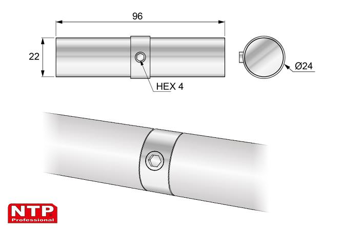 Przedłużka rury 25mm rysunek techniczny
