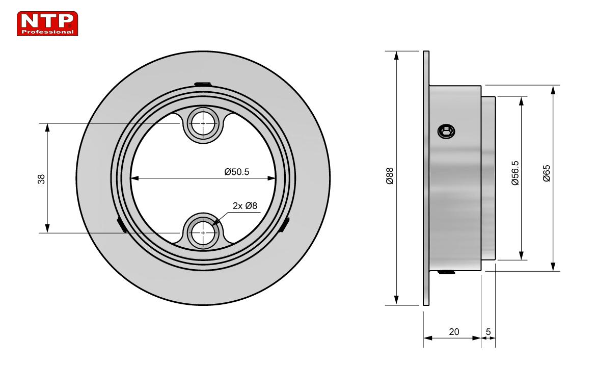 mocowanie dolne rury 50mm rysunek techniczny