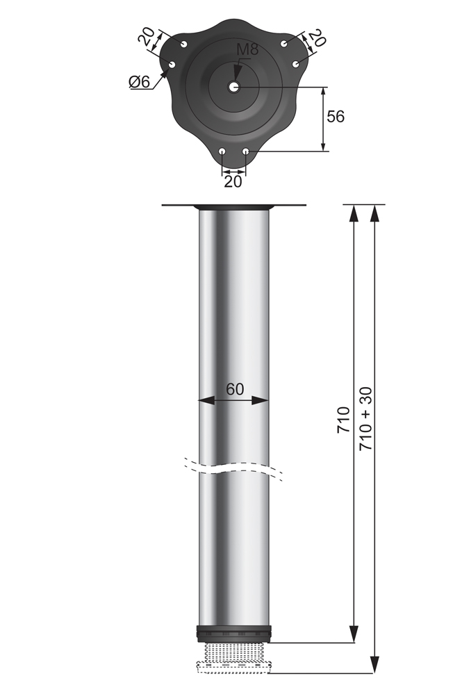 noga meblowa rysunek techniczny