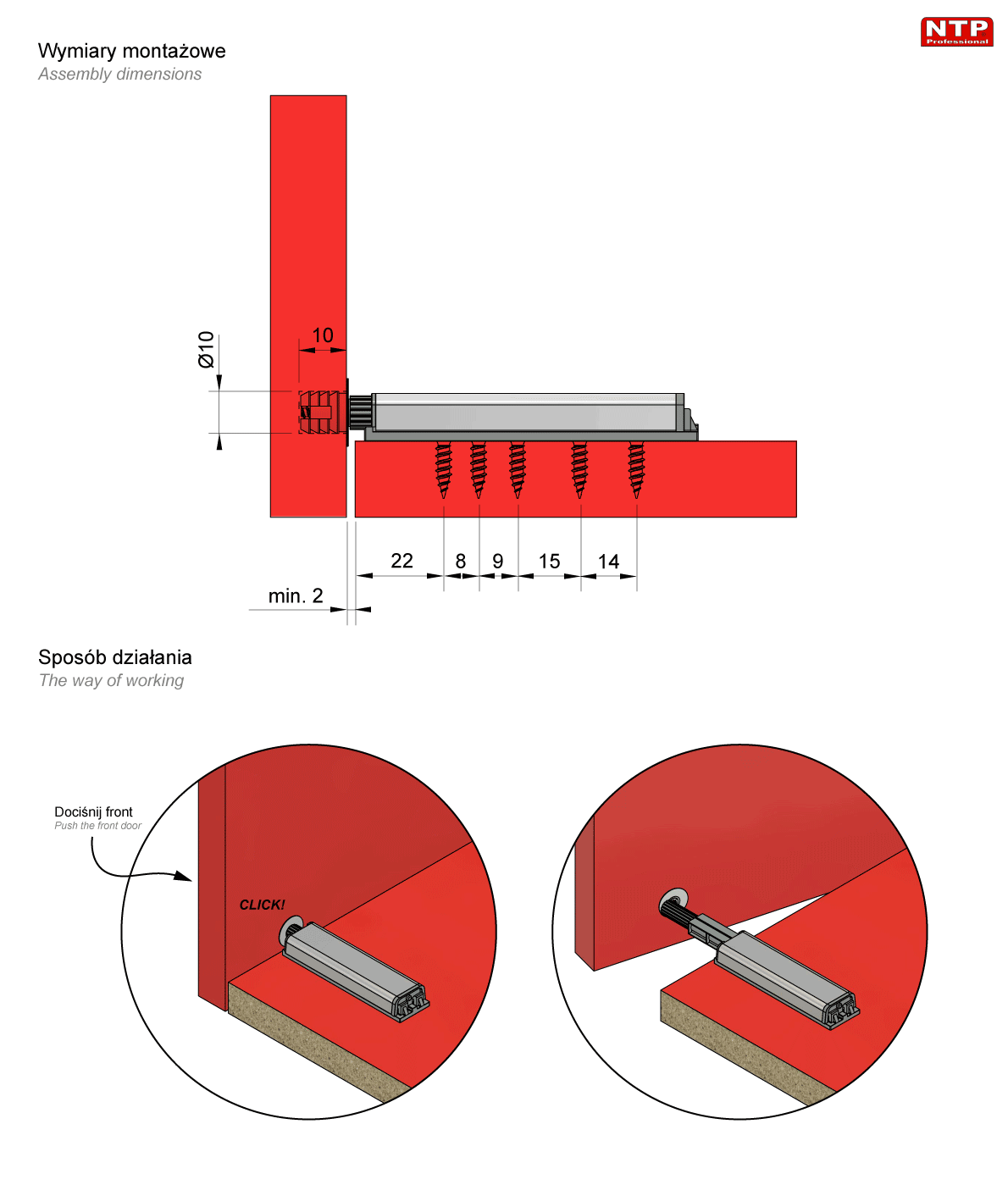 zatrzask z magnesem (tip-on) rysunek techniczny