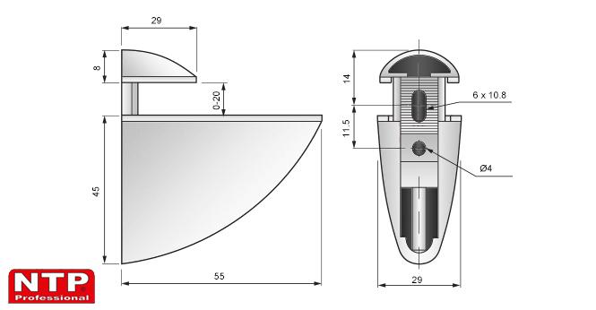 podpórka pelikan średnia 45x55 rysunek techniczny