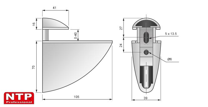 podpórka pelikan bardzo duża 70x105 rysunek techniczny