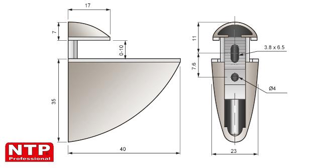 podpórka pelikan mini 35x40 rysunek techniczny