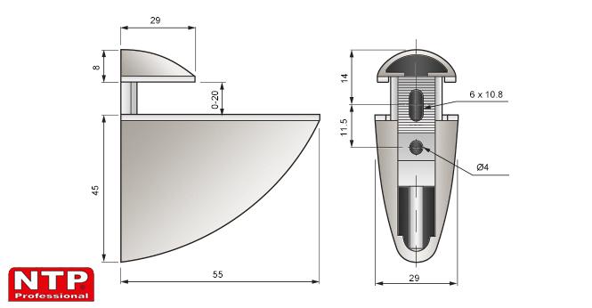 podpórka pelikan mini 45x55 rysunek techniczny