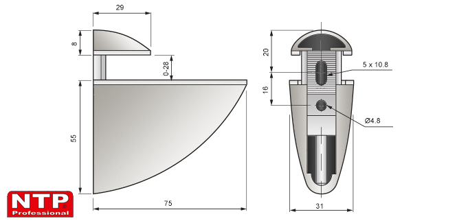 podpórka pelikan średnia 55x75 rysunek techniczny