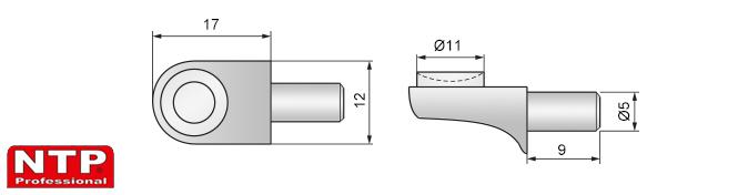 wspornik do półki szklanej z przyssawką rysunek techniczny
