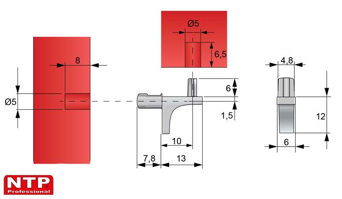 wspornik zaciskany półki szklanej rysunek techniczny