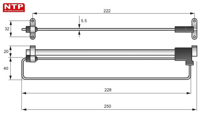 WIESZAK WYSUWNY NTP 250mm rysunki techniczne