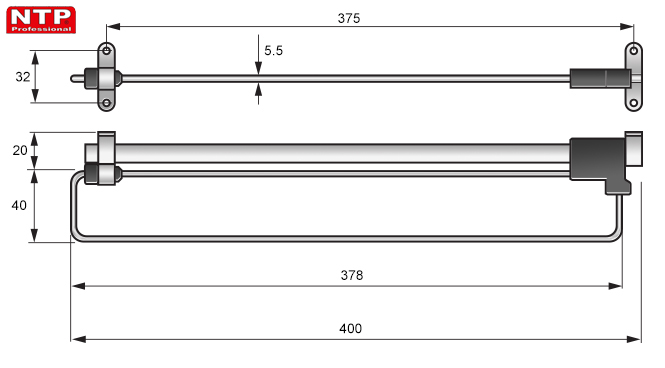 WIESZAK WYSUWNY NTP 400mm rysunki techniczne