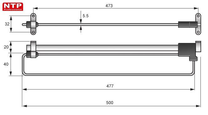 WIESZAK WYSUWNY NTP 500mm rysunki techniczne