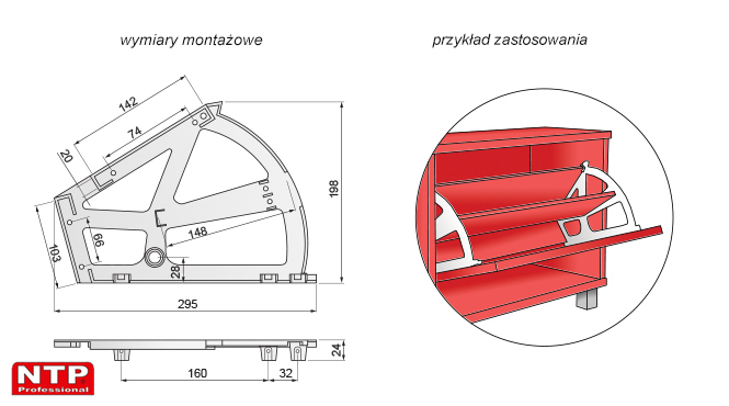 Obrotnica do szafki na obuwie dwurzedowa rysunki techniczne