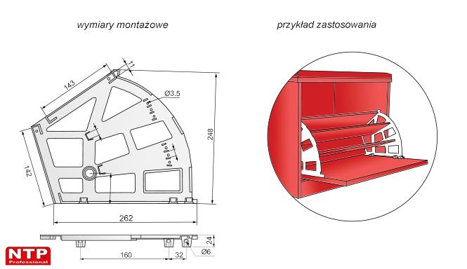 obrotnica do szafki na obuwie trójrzędowa rysunki techniczne