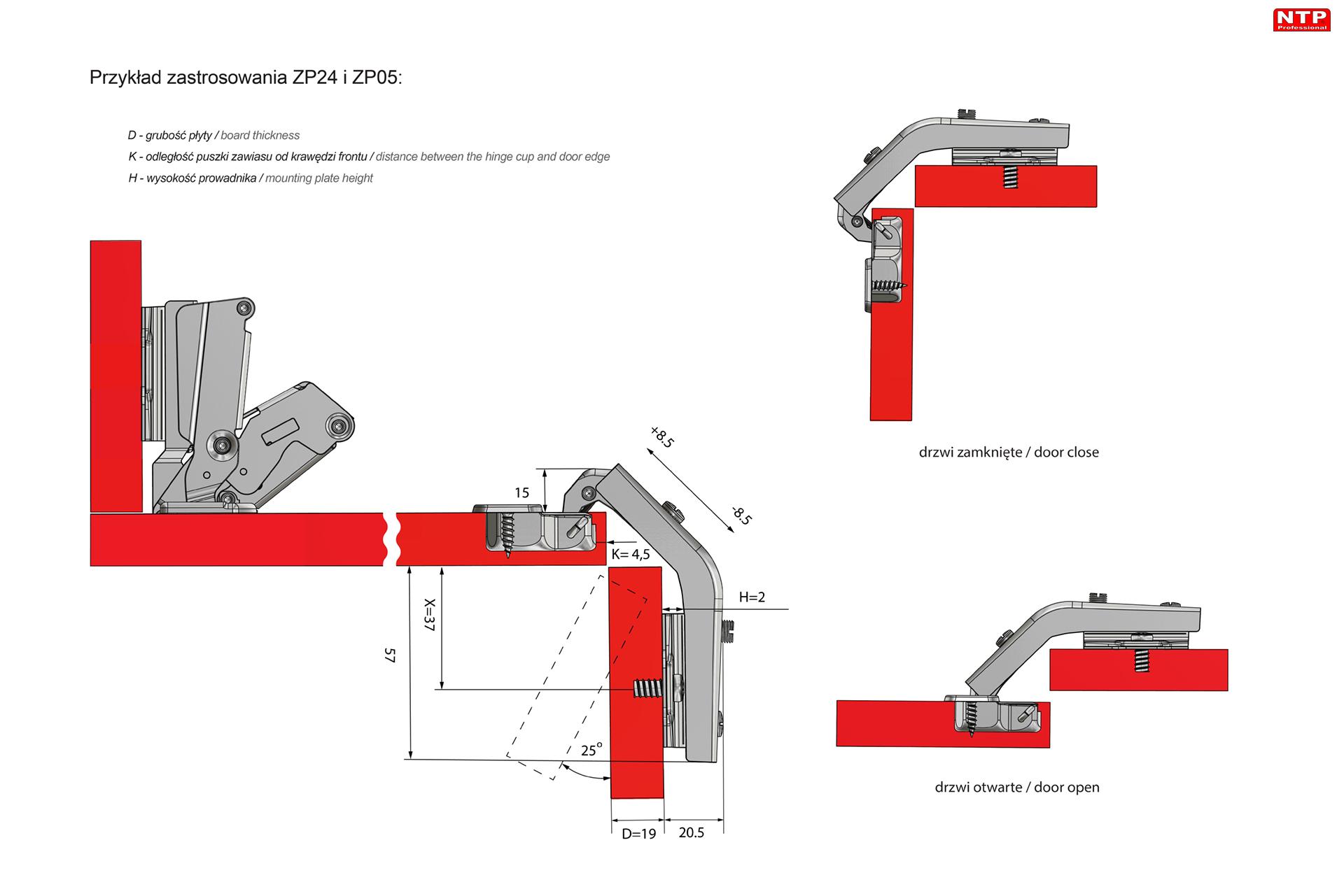 Zawias fi35mm uzupełniający z prowadnikiem H=2 z euro rysunki techniczne