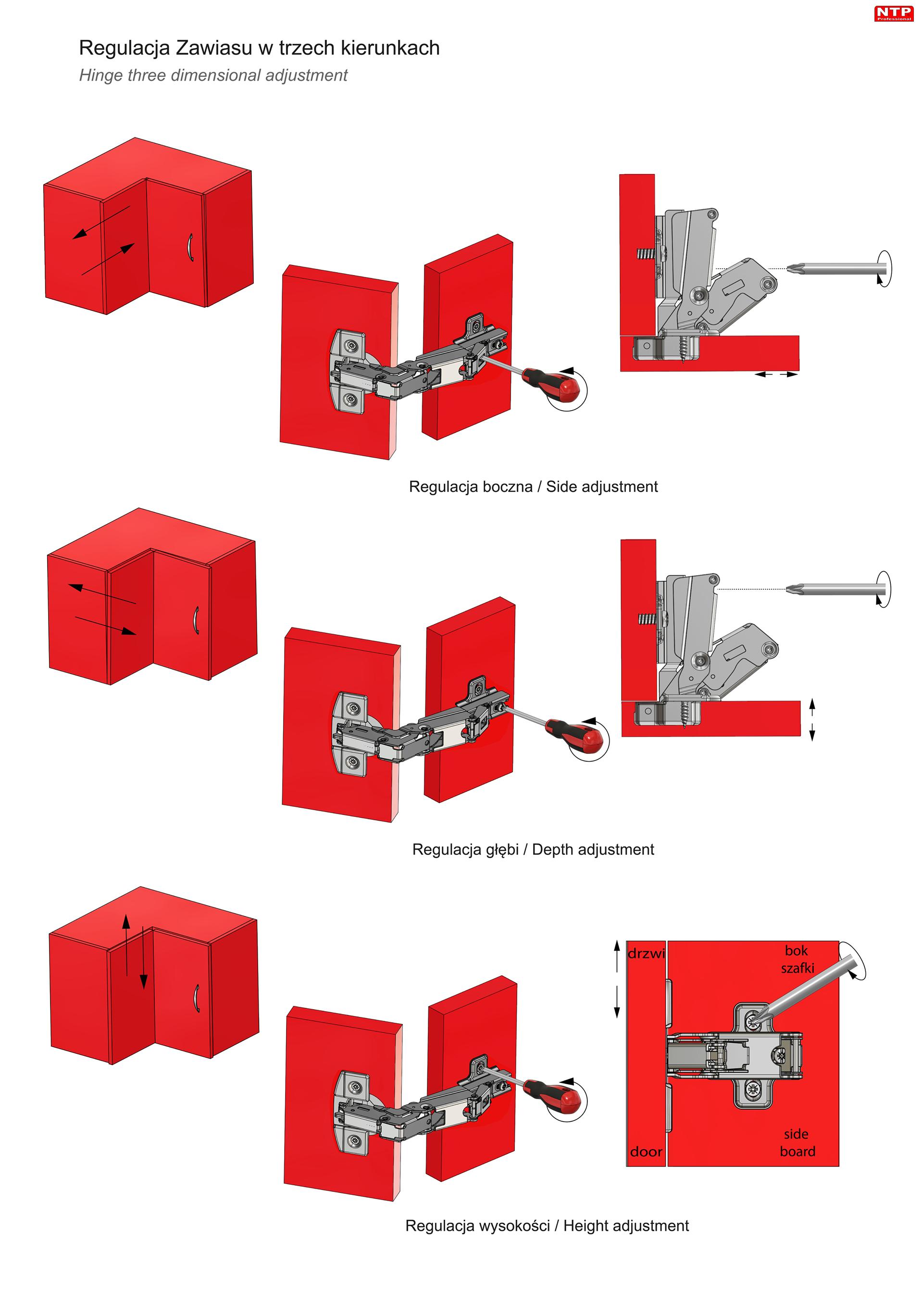 Zawias fi35mm do drzwi nakładanych z prowadnikiem H=0 z euro rysunki techniczne