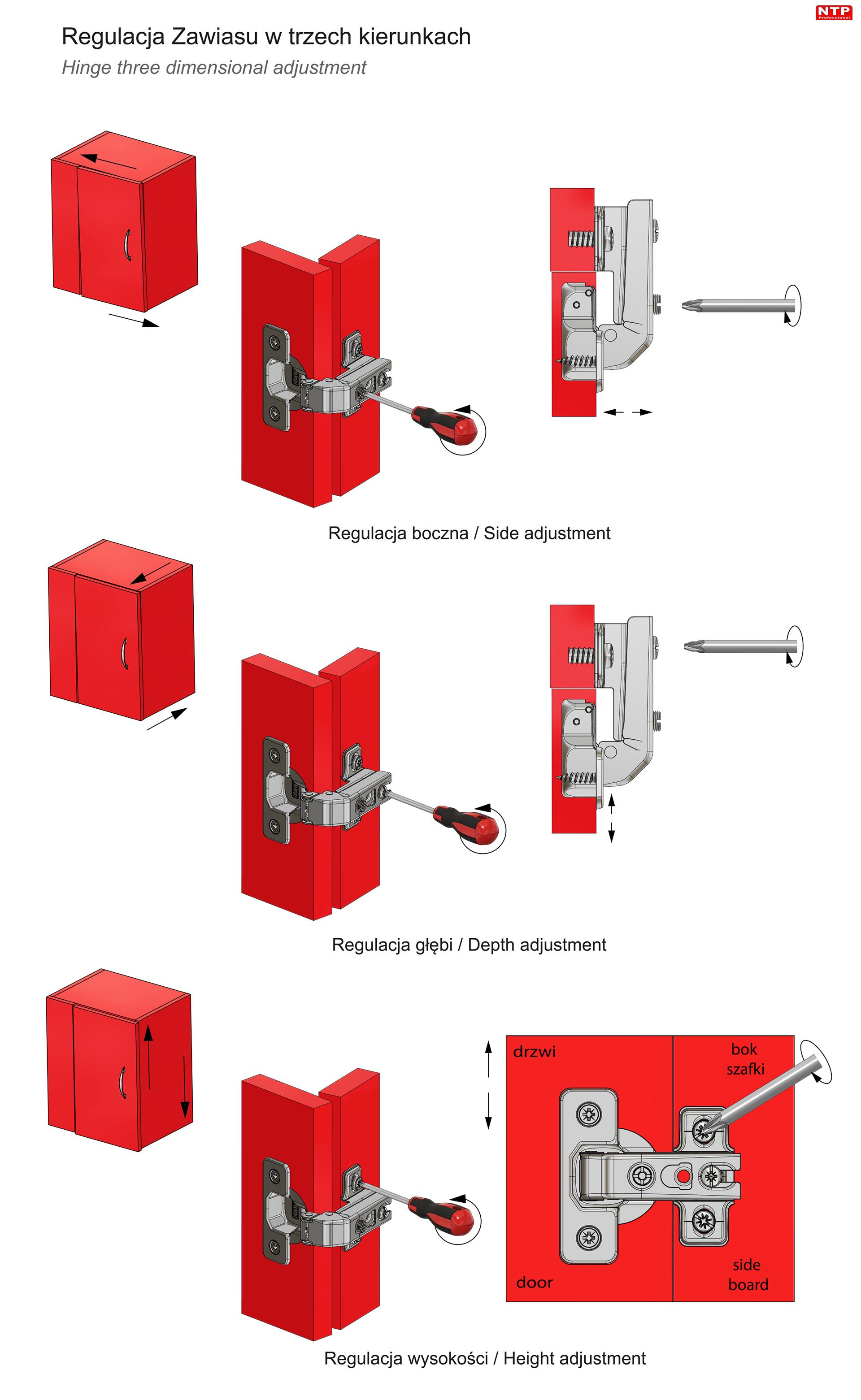 Zawias fi35mm do drzwi równoległych z prowadnikiem H=6 z euro rysunki techniczne