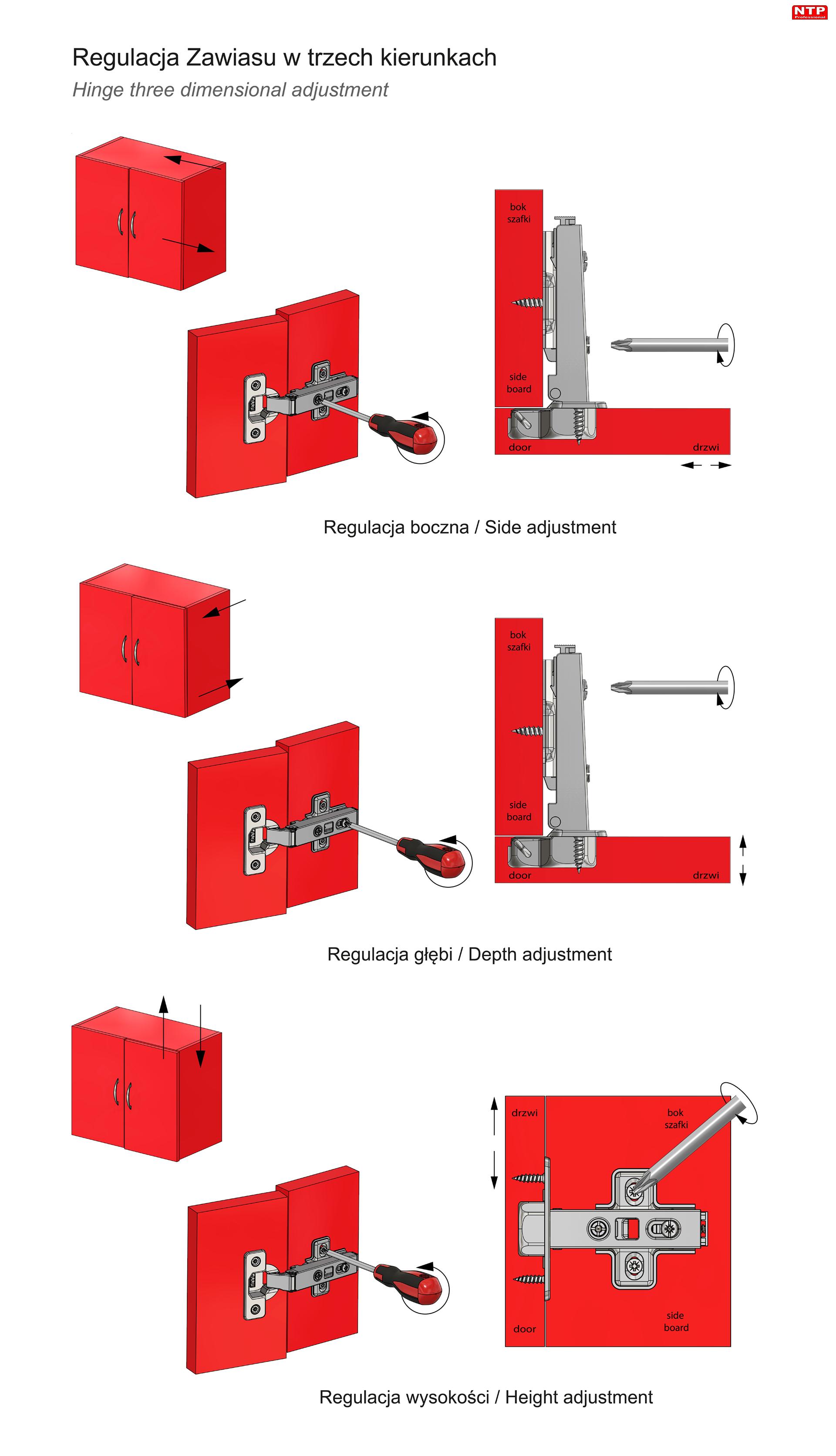 Zawias clip-on Ø35mm do drzwi nakładanych rysunki techniczne