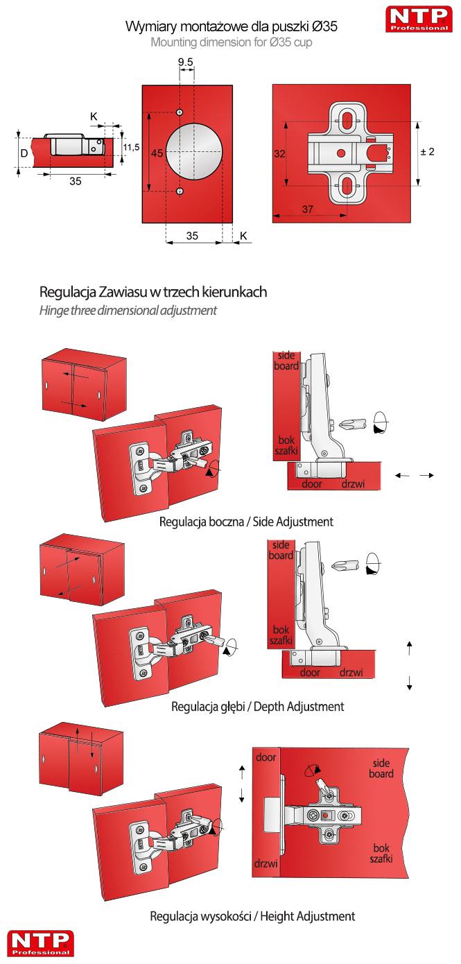 Wymiary montażowe zawiasu fi35mm regulacja zawiasu puszkowego instalacja zawiasu clip on