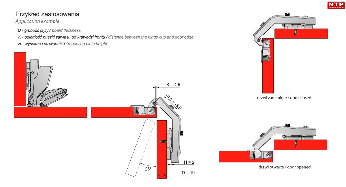 Zawias Ø35mm uzupełniajacy 135º z prowadnikiem H=2 rysunki techniczne