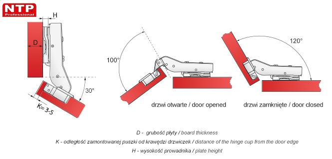 Zawias hydrauliczny Ø35mm +30º rysunki techniczne