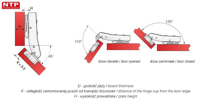 Zawias hydrauliczny 45 stopni do drzwi naroznych rysunki techniczne