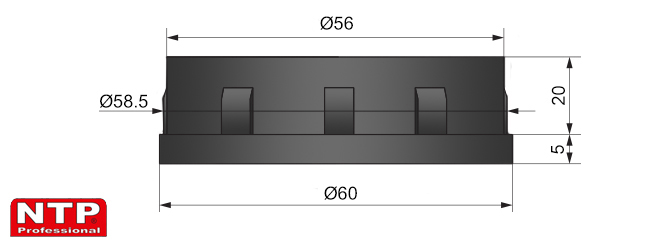 plastikowa zaślepka rury fi 60mm rysunek techniczny