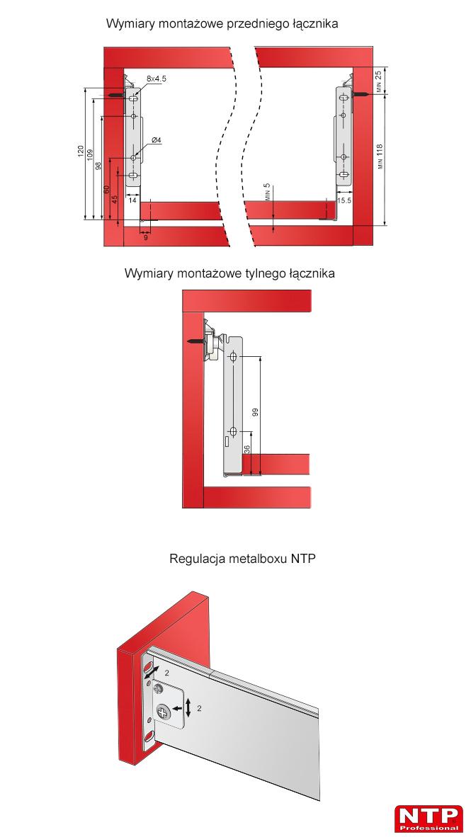 Wymiary montażowe i regulacja metalboxu H-118