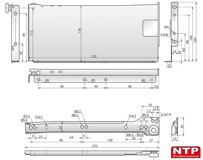 metalbox 118x270 rysunki techniczne