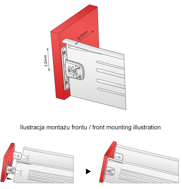 regulacja frontu i ilustacja montażowa metalboxu h=118