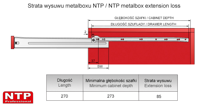 Strata wysuwu metalboxu L=270