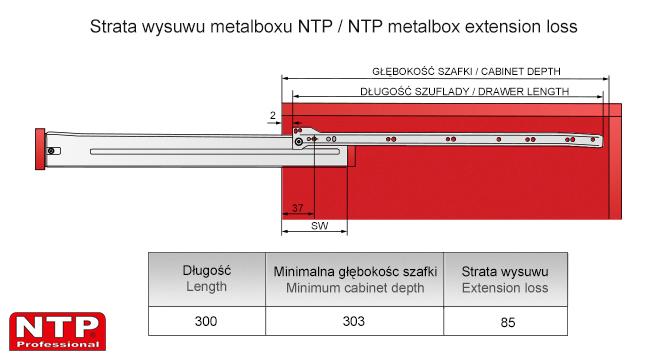 Strata wysuwu metalboxu L-300