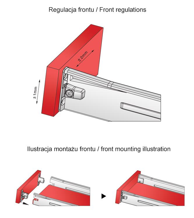 regulacja frontu i ilustacja montażowa metalboxu h=54