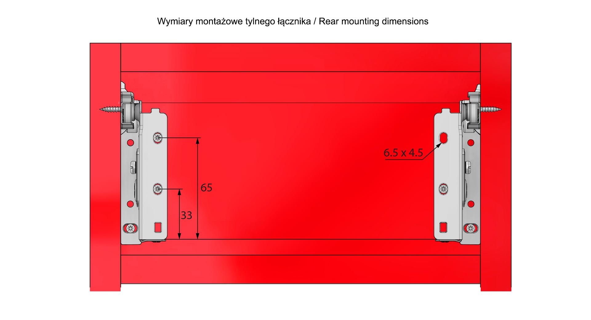 Wymiary montażowe metalboxu H=86mm