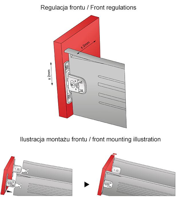 regulacja frontu i ilustacja montażowa metalboxu h=150