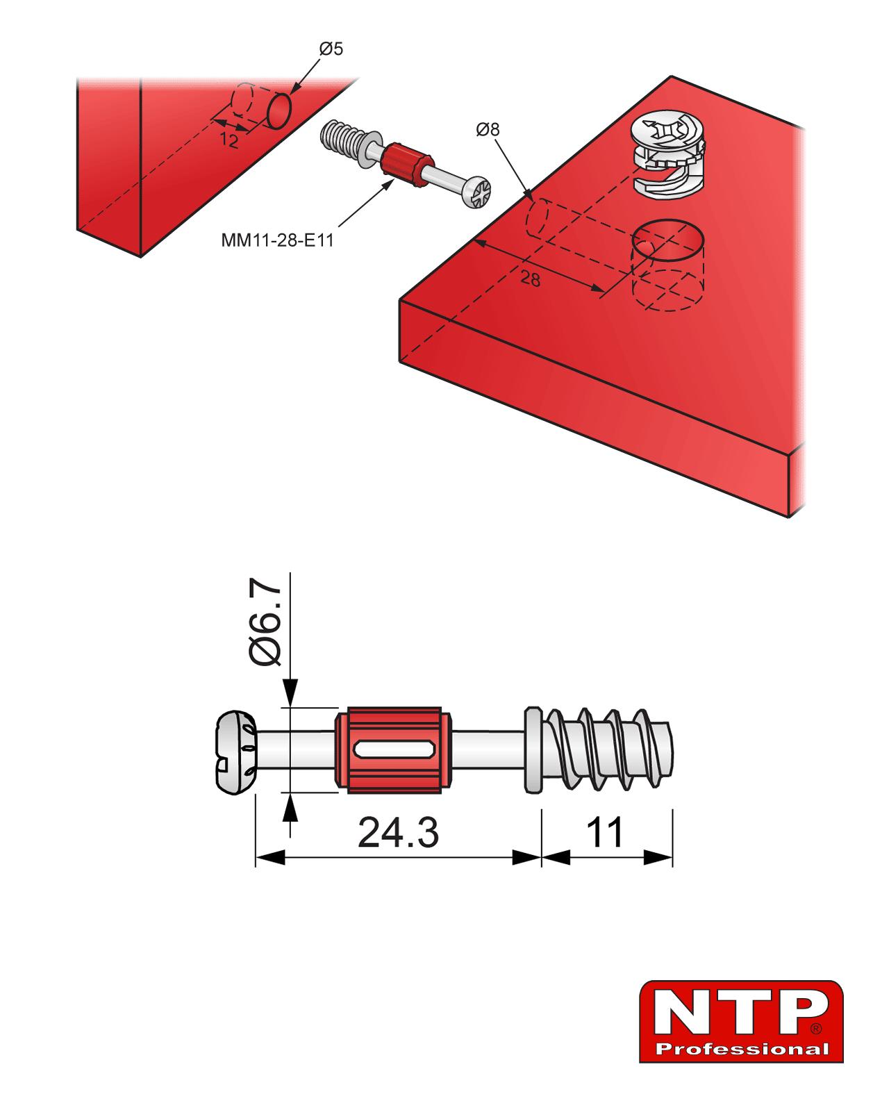 zaczep mimośrodu 28mm euro rysunek techniczny