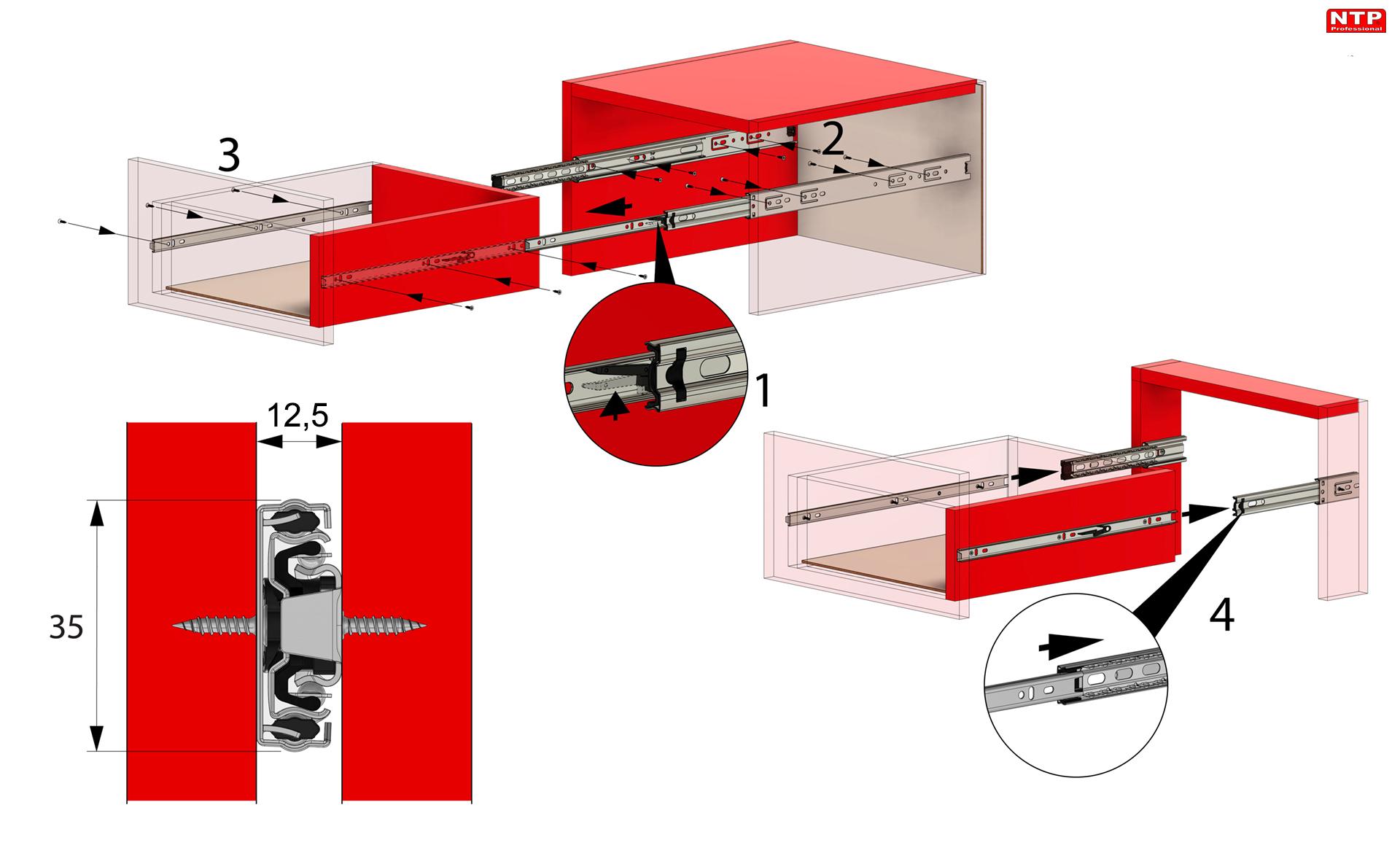 Instrukcje montażowe prowadnic PK35N